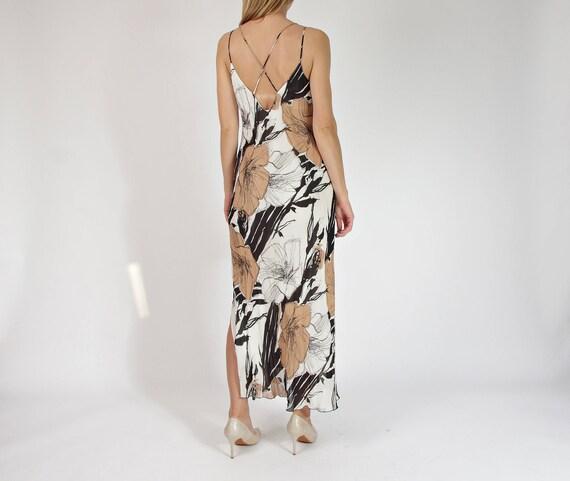 90s Spaghetti straps neutral flowers maxi dress / size L