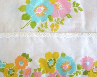 vintage floral flat sheet double full size 60s flowers polyester cotton blend fabric fashion manor