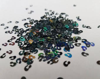 solvent-resistant glitter shapes-black hologram leopard spots--cat spots