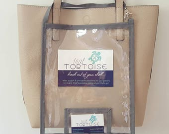 """Large Catalog Holder - 11""""x9"""" - Catalog Holder - Clear Catalog Pouch with Business Card pocket and strap"""