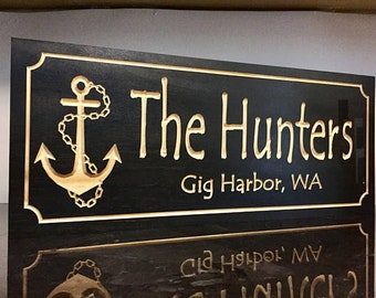 Custom Marina Sign, Lakehouse, Personalized Boat House Sign, Wooden Carved Sign, Nautical Theme , Boating, Anchor Custom Wood Signs