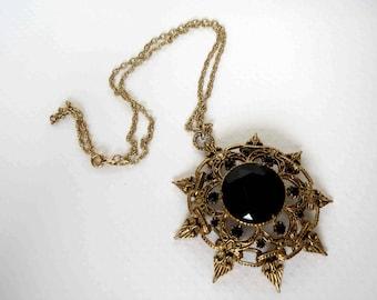 FLORENZA Large Antiqued Gold and Black Rhinestone Necklace - Signed