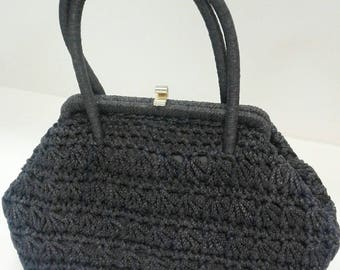Cute practical vintage St Michaels 1950s 60s navy crochet cord bag very Mad Men