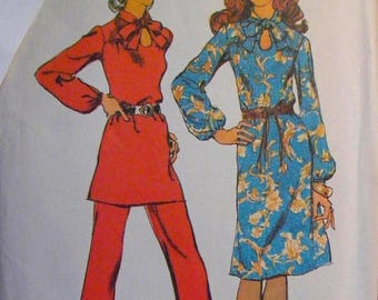 ON SALE 35% OFF Dress / Tunic / Pants 1970's Vintage Simplicity Sewing Pattern 9604 Misses' Size 14 Bust 36""