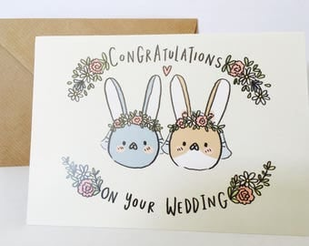 Mrs & Mrs Card, wedding congratulations A6 rabbit bunny card, same sex, marriage, wedding gift, cute, quirky