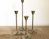 Set of 4 Vintage Brass Taper Candleholders