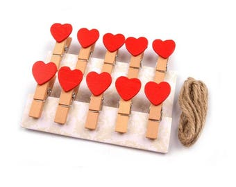 10 mini clothespins red heart + string 1 m