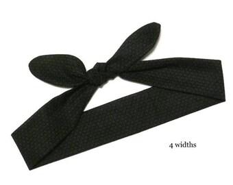 Pin Up Bandana Black Dolly Bow Headband, Women's Retro Top Knot Bandana, Girl's Tie Up Head Scarf Rockabilly Rosie The Riveter Stocking Gift