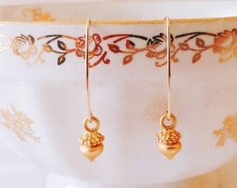 14K gold filled earring hook tiny acorn matte gold charm