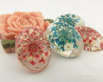 2 - Dried Flower Resin Cabochons