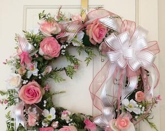 Valentine's Wreath-Rose-Wreath-Wedding-Shower-Wreath-Spring-Wreath-Mother's Day Wreath