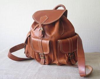 Vintage Brown Backpack Rucksack Genuine Leather Shoulder Bag @228