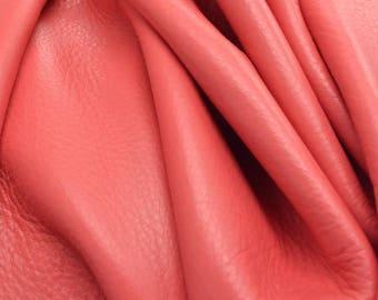 """Leather Cow hide side 29.3 sf Dandy Coral Candy """"Signature"""" 2 1/2 oz flat grain DE-61530 (Sec. 9,Shelf 2,A)"""