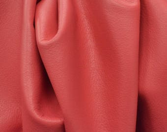 "Leather Cow hide Project Piece 10.3 sf Dandy Coral Candy ""Signature""  2 1/2-3 oz flat grain BR-63513 (Sec. 8,Shelf 1,B)"