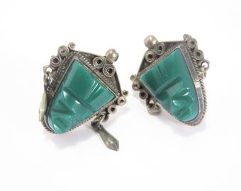 Vintage Mexican Sterling Green Mask Face Earrings Screw On