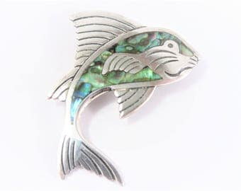 Vintage Mexican Sterling Abalone Fish Brooch