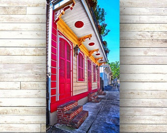 New Orleans Art - BRIGHT RED -Doors - Architecture - Photography -Doors-Shutters- Historic Building- Birch Boxes- Wood