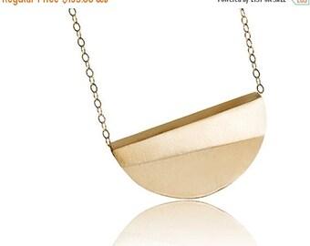 ON SALE Half Moon Geometric 14K Gold Statement Necklace, Small Minimalist Pendant Necklace - Handmade Product