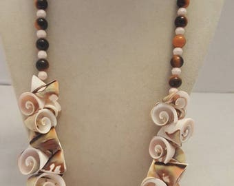 Shell and Tiger Eye Necklace Shell Necklace Tiger Eye Necklace One Of A Kind Necklace Beach Necklace Shell Vacation Necklace Multicolored