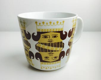 "Very RARE vintage Arabia Finland ceramic mug named "" Korttipakka"", designed by Kaj Franck / Raija Uosikkinen, 1960s, Made in Finland"