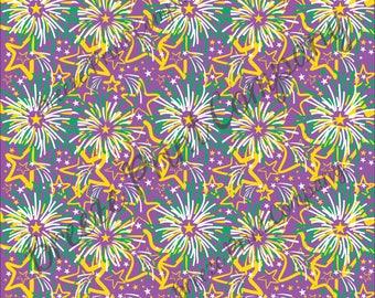 HTV Mardi Gras Purple, yellow and green fireworks pattern craft vinyl sheet - HTV or Adhesive Vinyl -  HTV2259
