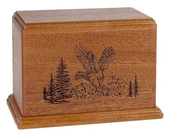 Mahogany Eagle Wood Cremation Urn