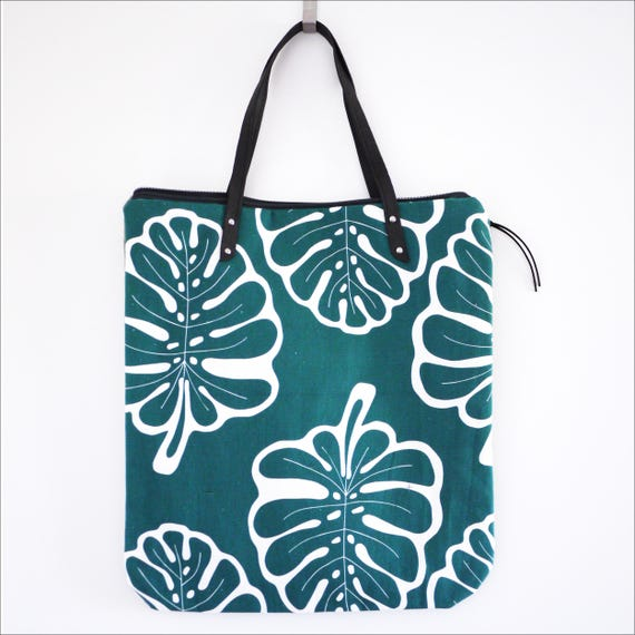 "Shopping bag ""light"" green and white, print Monstera"