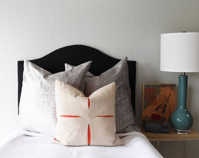 Ready to Ship! Solid Black Linen Dorm Headboard, Camelback Shape