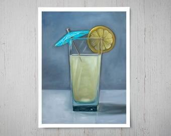 Fresh Summer Lemonade - Fine Art Oil Painting Archival Giclee Print Decor by Artist Lauren Pretorius