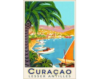 Curaçao Dutch Caribbean Lesser Antilles Tropical Travel Poster Roger Broders Repro Art Print 313