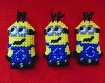 Minion Mini Character in Needlepoint, Despicable Me Minion Fan Art, Miniature Minion Doll Ornament