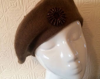 100% wool brown beret with brown beaded button