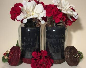 Mason Jars. Jesus and Sweet Tea. Set of 2. Decorative Etched Glass Glitter Jar Flower Vase. Tea Light Candle Holder