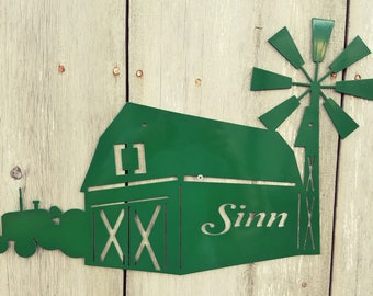 Powder Coated Custom Wall Hanging Barn with Windmill and Tractor Metal Sign