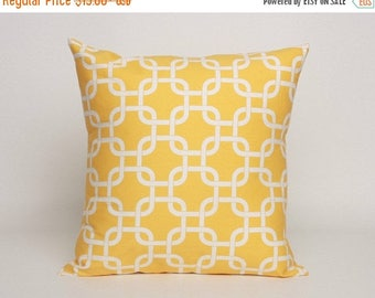 Summer Sale Corn Yellow Pillow Cover in Premier Prints Gotcha Pattern Designed to Fit 16, 18, 20 or 22 Inch Standard Inserts