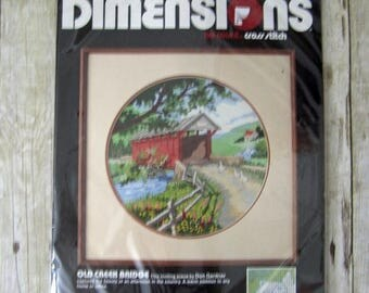 SALE 804) Dimensions No Count Cross Stitch Don Gardner Country Afternoon Covered Bridge Old Creek Bridge