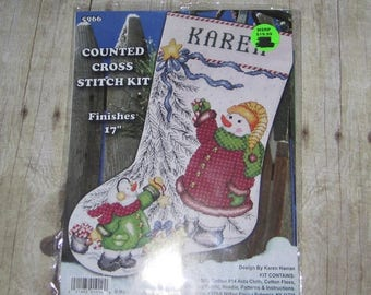 """SALE Design Works Counted Cross Stitch kit 17"""" ~ TRIM A Tree Snowman Stocking #5966"""