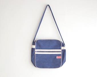 Vintage Denim Shoulder Bag, 80s Messenger Bag, Blue White Vegan Bag