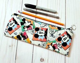 Comic Mickey Zippered Pencil Case / Short