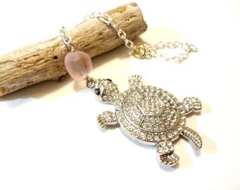 Sea Turtle Rear View Mirror Car Charm - Turtle Car Accessories - Rhinestone Car Charm - Pink Mirror Charm - Pink Gifts - Gifts for Her