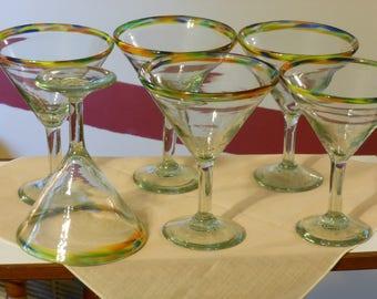 Six Tall, Large, Heavy Martini Glasses