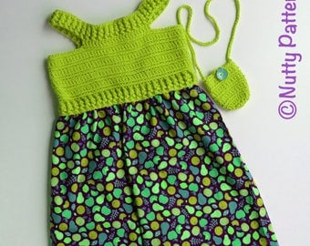Crochet Patterns * Maya Sundress * PDF pattern # 491 * 6, 12, months and 2, 4, 6, 8, 10 years * with a little cross bag