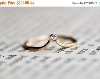 ON SALE 14K Chevron Diamond Ring, Bezel Diamond Ring, Stacking Ring, Wedding Band, Dainty Band, Solitaire Ring, Curved Ring