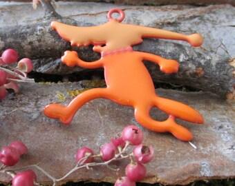 Creative supply large enamel pendant orange animal coyote animal