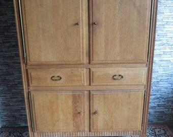 Vintage Belgian  oak bespoke free standing kitchen unit