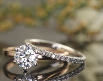 Moissanite Bridal Set, 1.00ct F1 Moissanite Engagement Ring in 14k RG & 3/4 Eternity Diamond Wedding Band in 14k WG, Estrella F and Briana