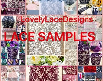 "LACE SAMPLES~~4"" wide-12"" wide / Wedding Lace Table Runners/ Wedding Decor/Reception Decor/Table Overlay/Event Supplies/Table decor/Weddings"