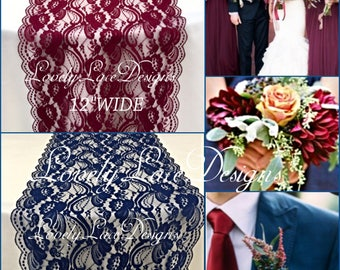 NEW Navy & Burgundy Lace Table Runners/3ft -10ft long x 12in wide/Wedding Decor/Table Decor/NAVY/burgundy weddings/Centerpiece/Weddings