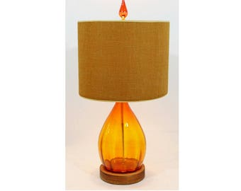 Mid Century Modern Orange Blenko Blown Glass Table Lamp Original Shade & Finial