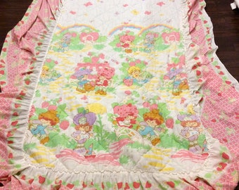 Vintage Strawberry Shortcake Ruffled Twin Bed Sham/Blanket, Strawberry Shortcake Bedding, Strawberry Shortcake Blanket, Vintage Kids Bedding